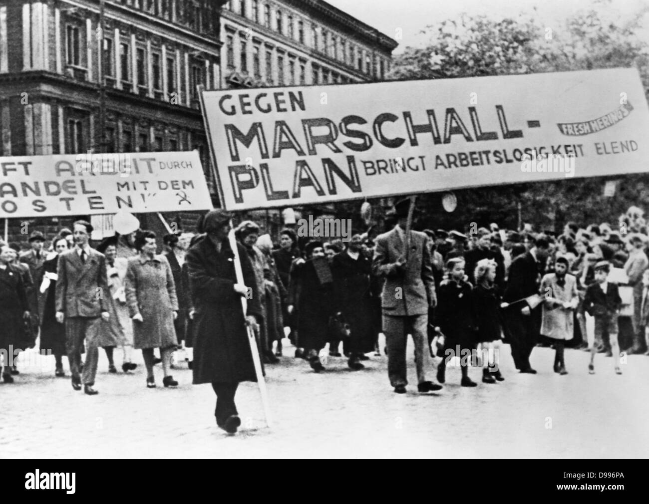 Marshall plan demonstration in Germany 1948 - Stock Image