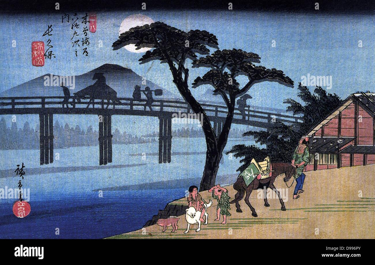 Utagawa Hiroshige 1797 – 1858) Japanese artist,,  'Man on Horseback Crossing a Bridge'. From Hiroshige's - Stock Image
