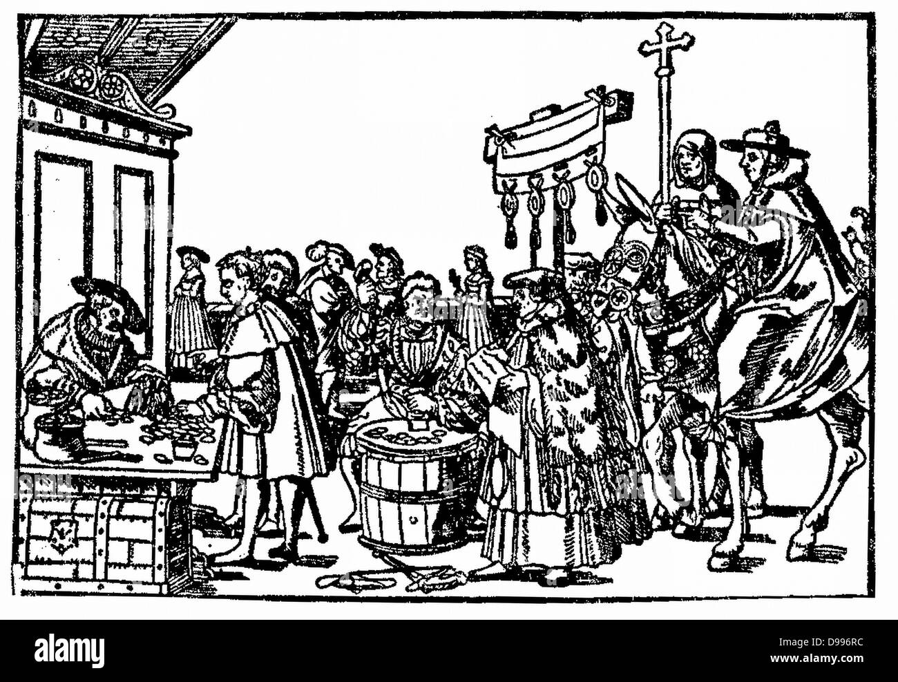 selling Indulgences. In Catholic theology, an indulgence is the full or partial remission of temporal punishment - Stock Image