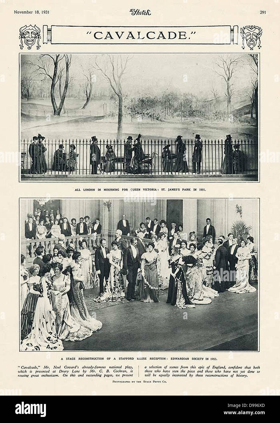 1931 Advert for 'Cavalcade' a play by Noel Cowerd - Stock Image