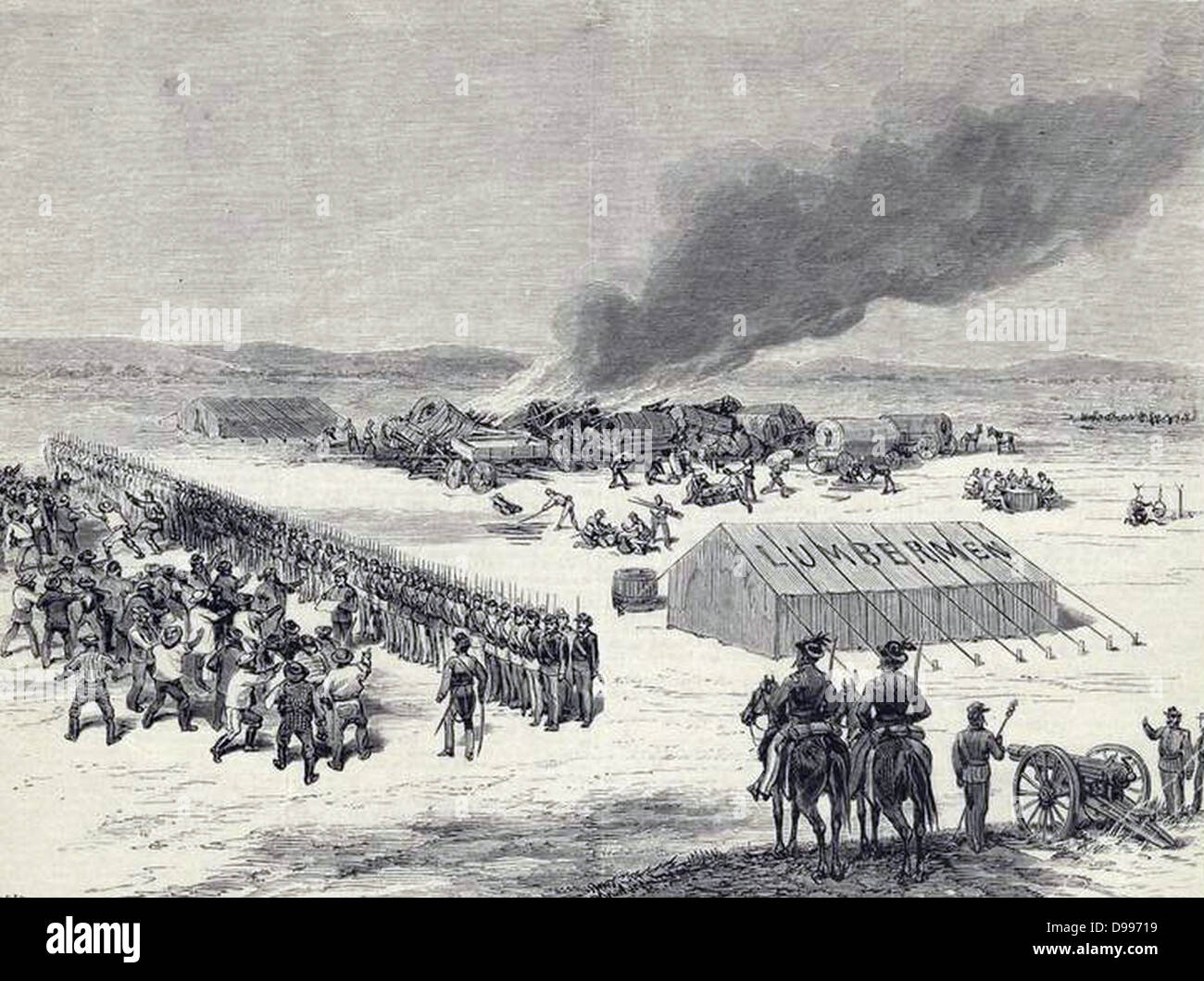 Burning of the Evans-Gordon train, at Wounded Knee Creek, near the north boundary of Nebraska, 325 miles west of Stock Photo