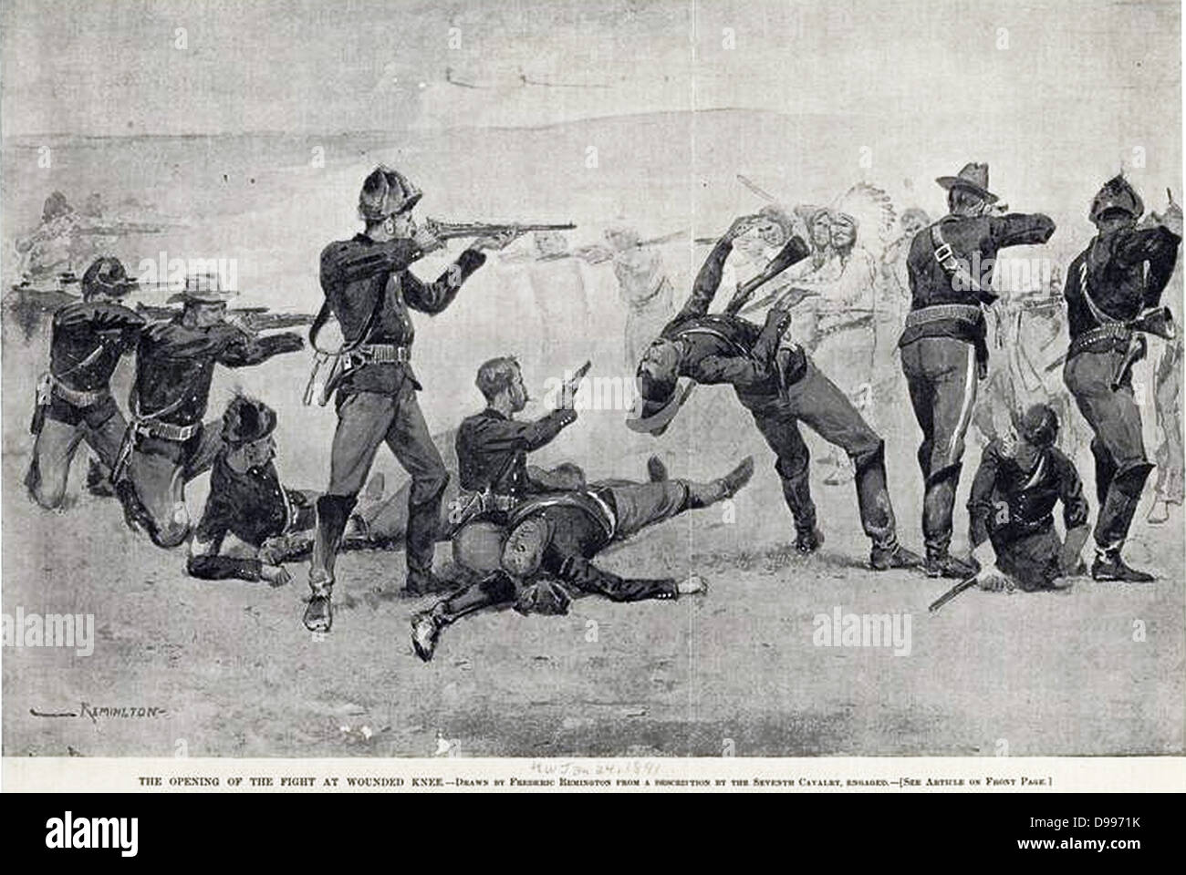 Frederic Remington 1861-1909 Artist 'The opening of the fight at Wounded Knee'. 1890 - Stock Image