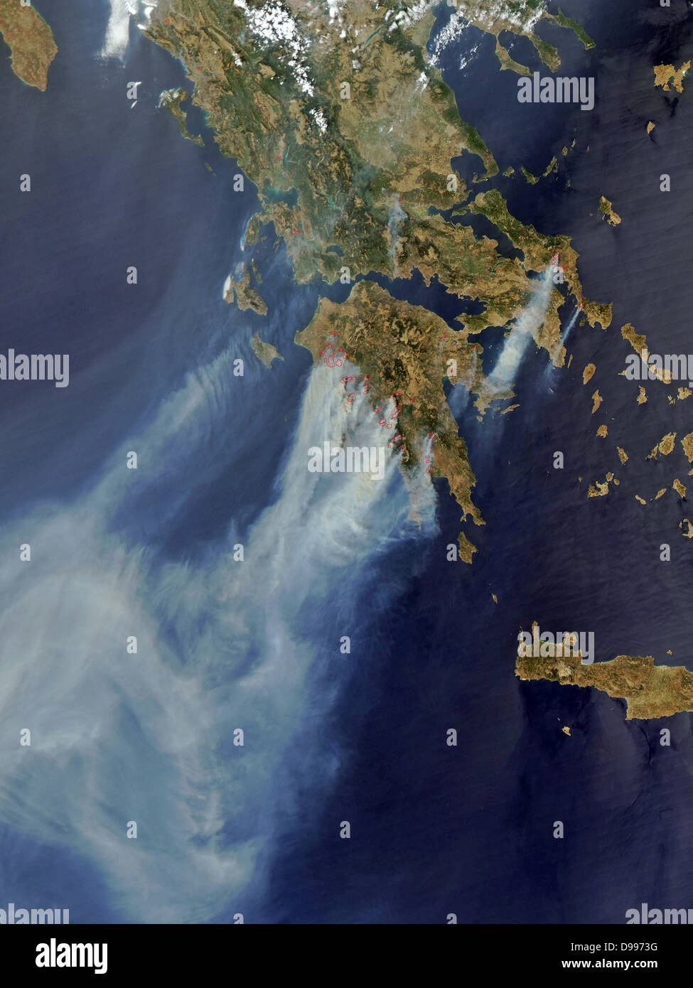 Fires over Greece in the summer of 2008. Satellite image. - Stock Image