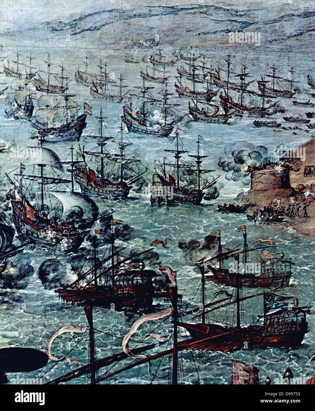 In April 1587 a raid by the Englishman Sir Francis Drake occupied the harbour of Cadiz for three days. The attack - Stock Image