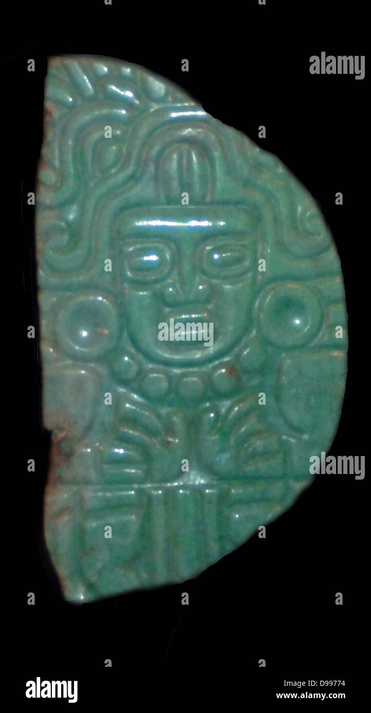 Jade Pendant of the Maize God. Mayan 400-800 AD - Stock Image