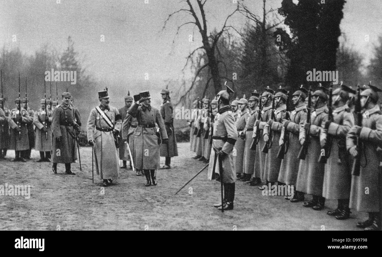 World War I 1914-1918: Visit of Charles I of Austria to the German Army Headquarters, 1917.  Charles accompanied - Stock Image