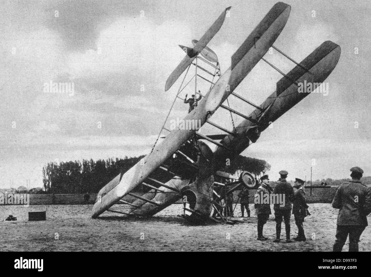 World War I 1914-1918:  A British Vickers biplane that had crashed near Lille, France, being examined by Germans, Stock Photo