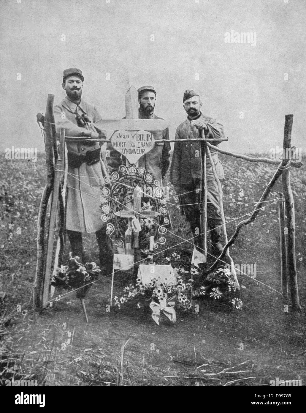 World War I 1914-1918: Grave of Jean Bouin (1888-20 September 1914) French Olympic runner and Rugby Union footballer, - Stock Image