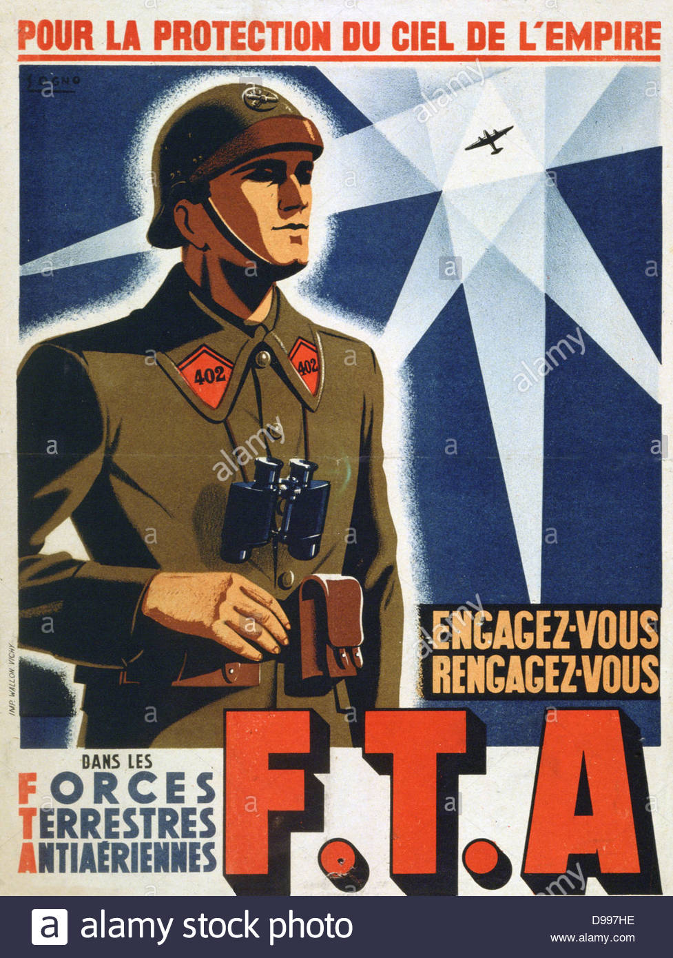 World War II 1939-1945: Recruiting poster for the Forces Terrestres Antiaeriennes,  a French anti-aircraft artillery - Stock Image
