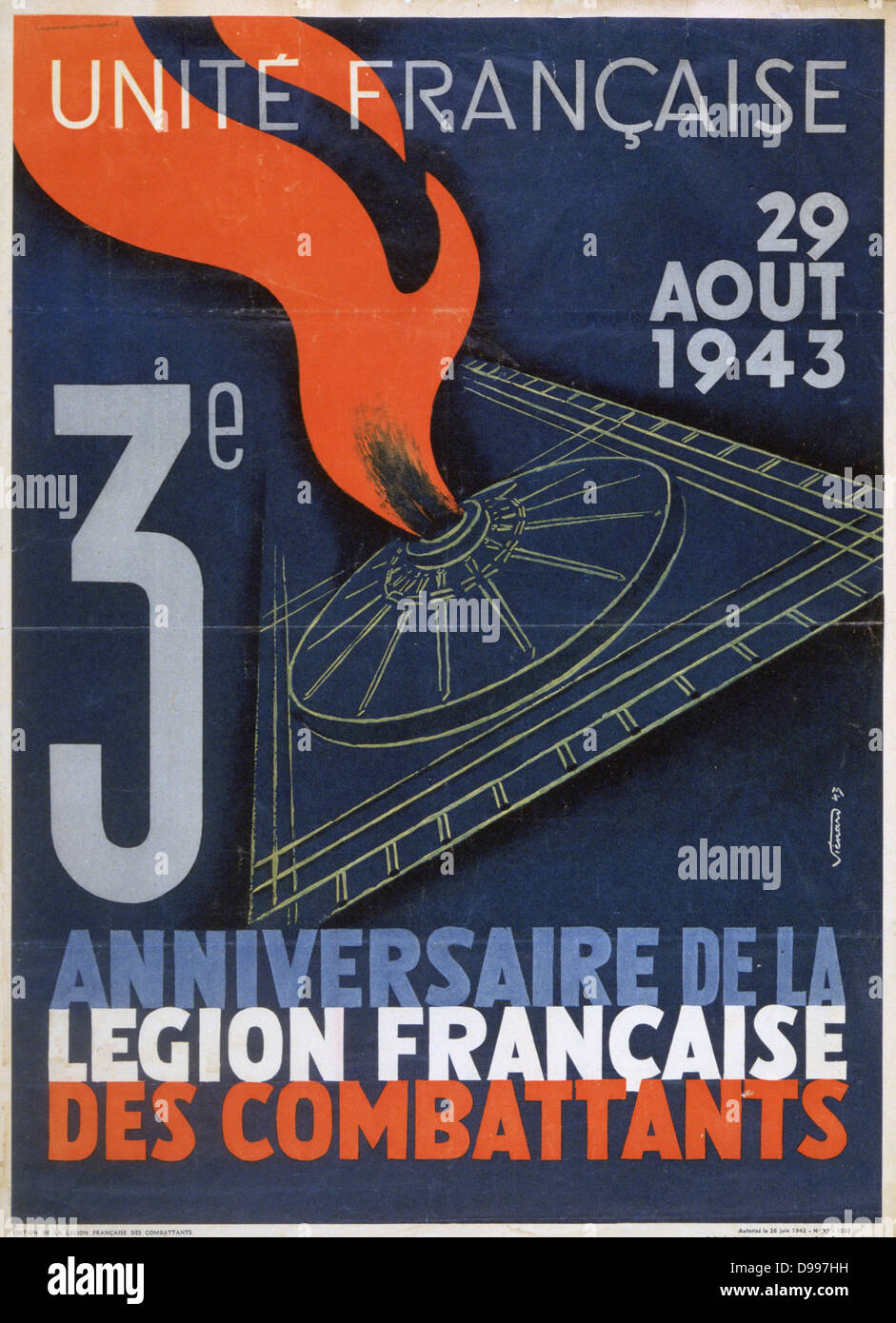 World War II 1939-1945: United France - Poster marking the third anniversary of the French Fighting Legion, France, - Stock Image