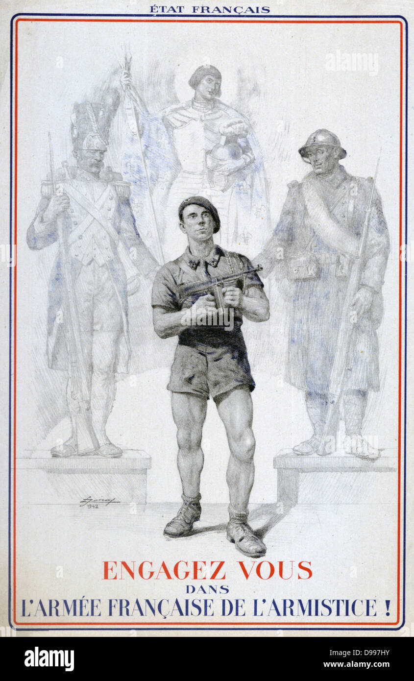 World War II 1939-1945: Vichy 1942 poster encouraging French men to join the French Army of the Armistice. France - Stock Image