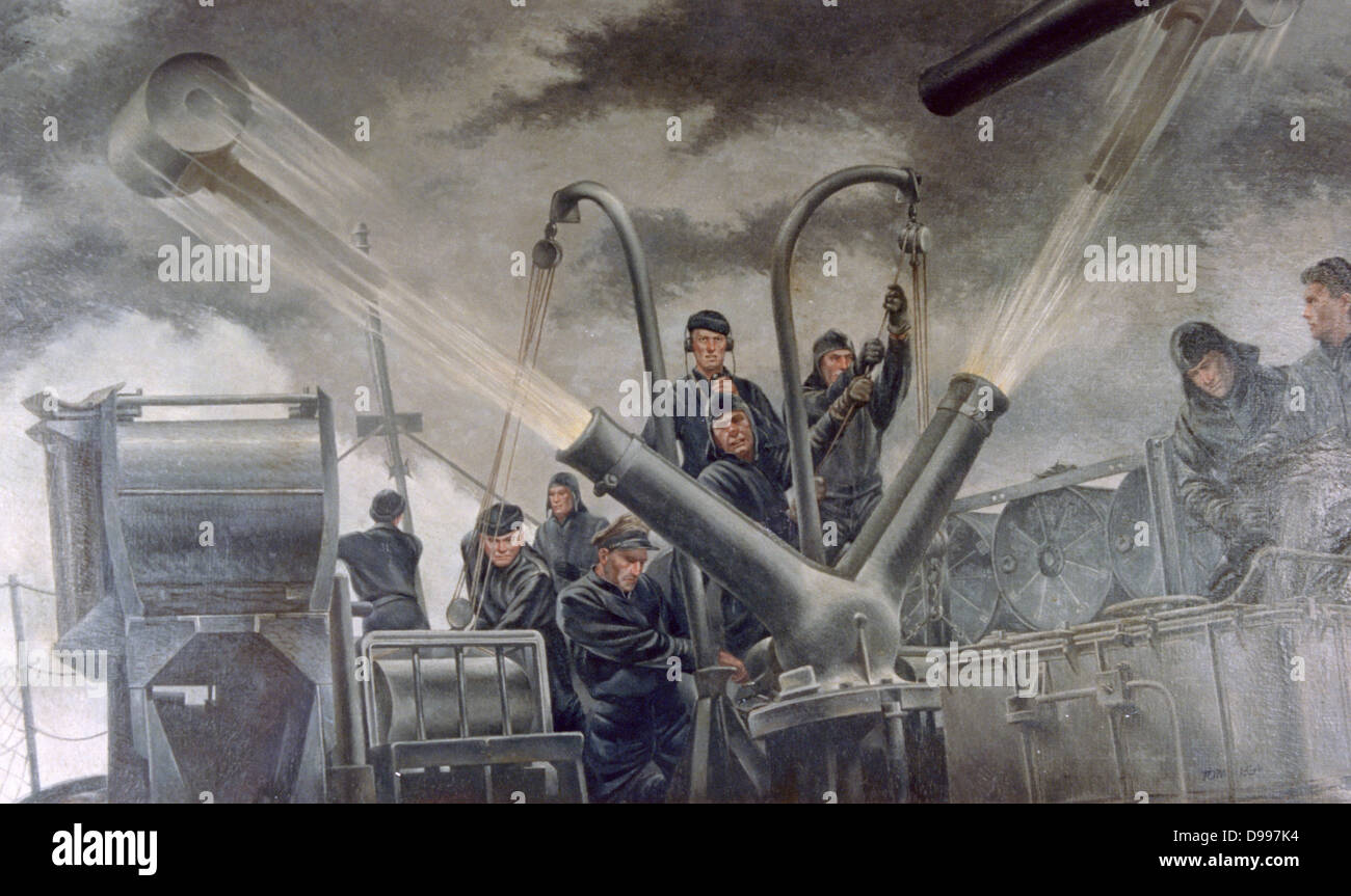World War II 1939-1945: 'Tossing the Cans - Atlantic Patrol', 1941. Tom Lea (1907-2001) American painter. - Stock Image
