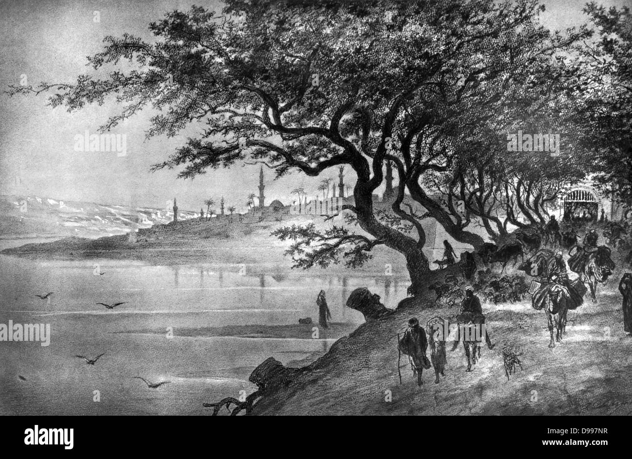 Travellers leaving a city via a tree-shaded road. Engraving from 'Le Caire et la haute egypte' (Cairo and - Stock Image