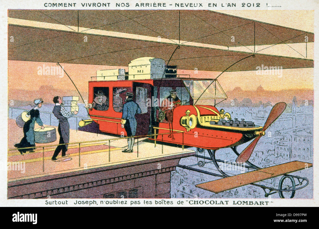Early 20th century trade card imagining fashionable travel in 2012. Private biplane collecting passengers from roof - Stock Image
