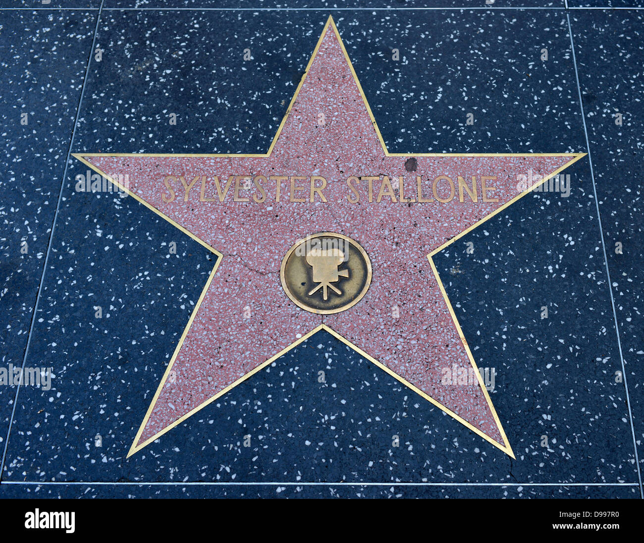 Terrazzo star for artist Sylvester Stallone, category Film, Drumming of Fame, Hollywood boulevard, Hollywood, Los Stock Photo