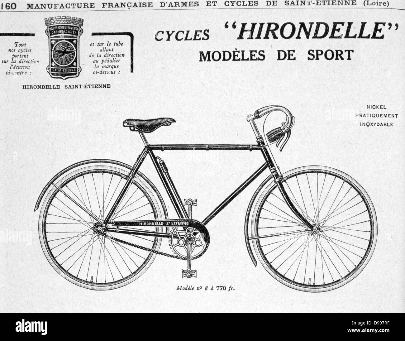 Sports model of a 'Hirondelle' (Swallow) chain-driven 'safety' bicycle from the catalogue of Manufrance - Stock Image