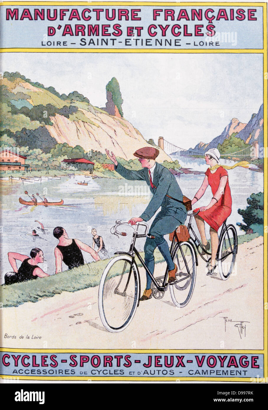 Cover of catalogue of Manufrance (Manufacture Francaise d'Armes et Cycles), Saint Etienne, c1920. Man and woman - Stock Image