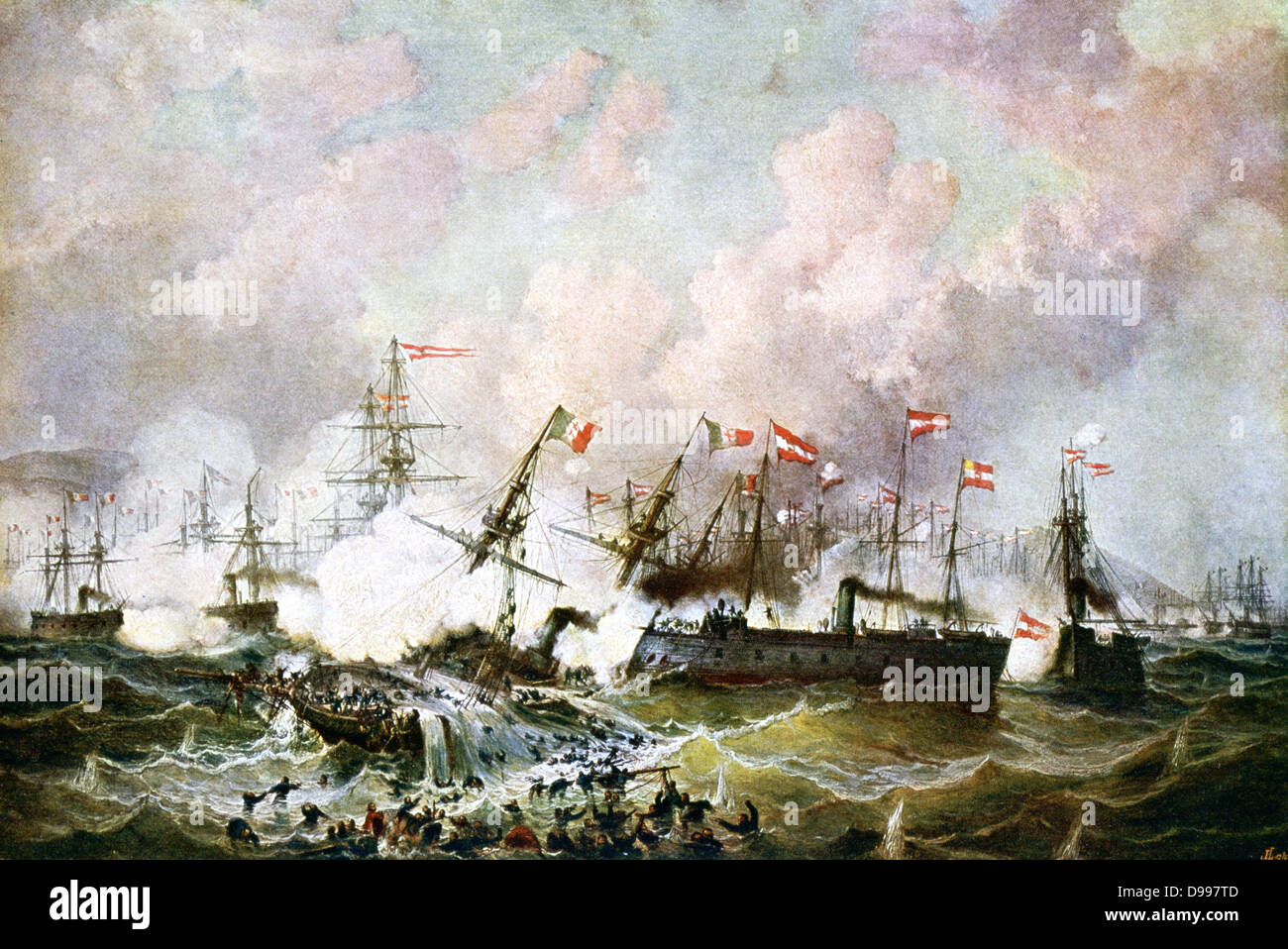 Battle of Lissa (Vis - modern Croatia) 20 July 1866, in the Adriatic between Austrian Empire and Italy; decisive - Stock Image