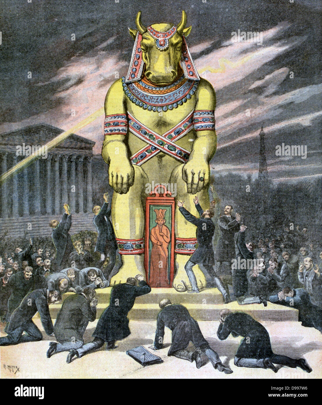 The Golden Calf:  The worship of riches.  From 'Le Petit Journal', Paris, 21 December 1892. - Stock Image
