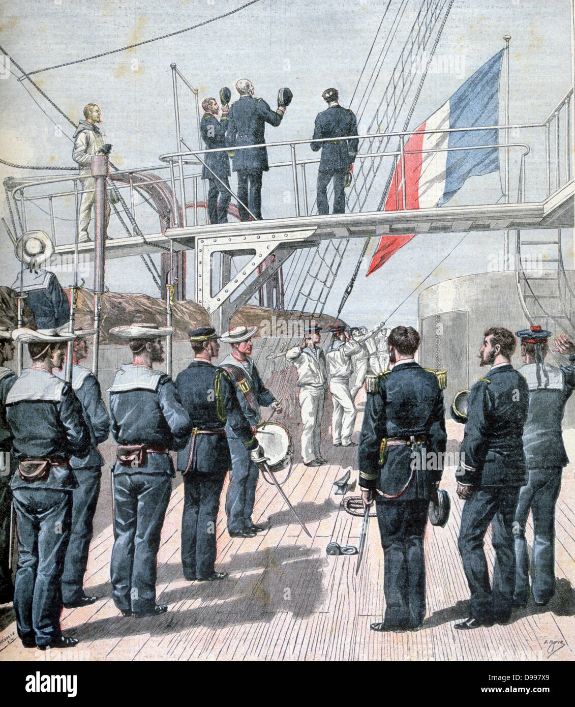 Saluting the Flag during French naval manoeuvres.  From 'Le Petit Journal', Paris, 1 August 1891. France, - Stock Image