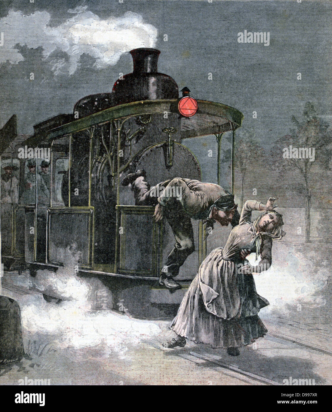 Tragic accident at Marly-le-Roi on the Paris-Saint-Germain railway, France.  The engine driver trying to save a - Stock Image