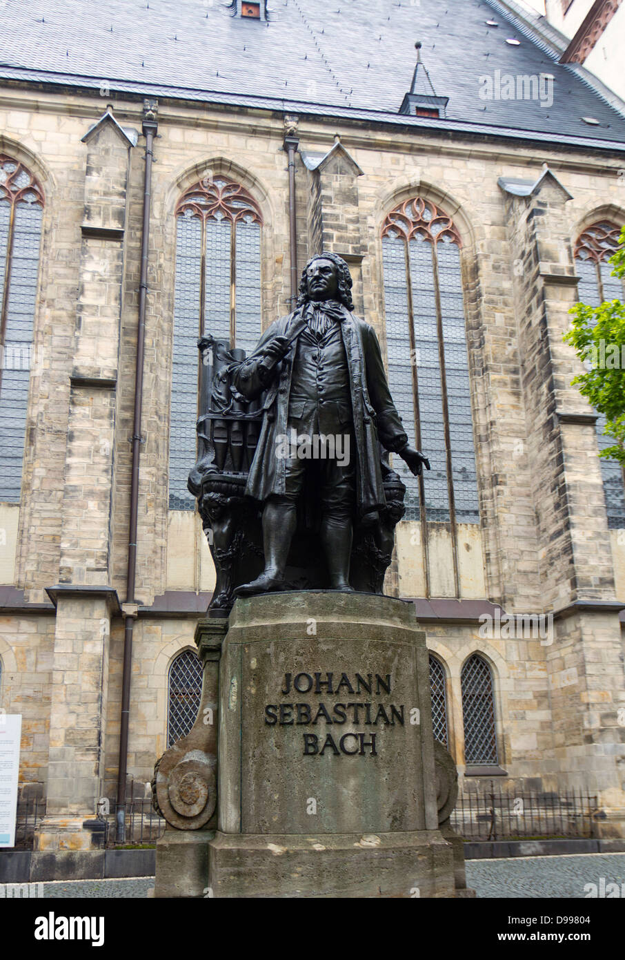 Stature of J.S.Bach outside St. Thomas Church, Leipzig, Germany - Stock Image