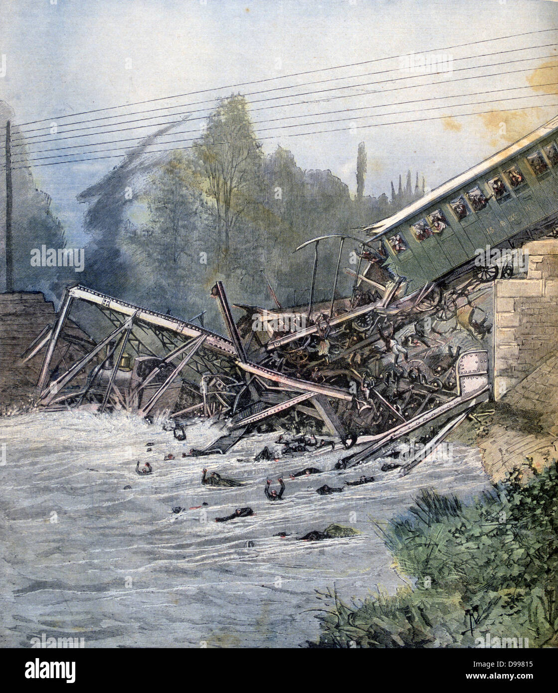 Collapse of of railway bridge over the Birs at Munchenstein, Switzerland, 14 June 1891, while a train was crossing. - Stock Image