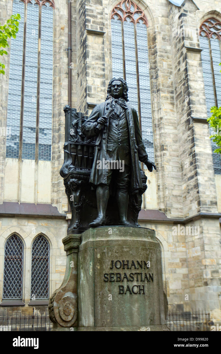 Statue of J.S.Bach outside St. Thomas Church, Leipzig, Germany - Stock Image