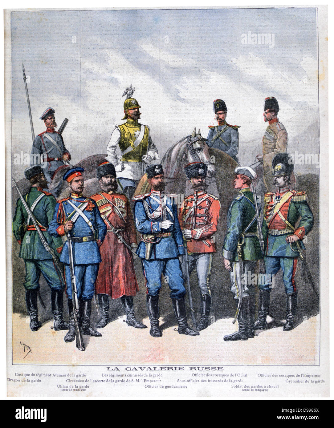 Russian cavalry from the lowest to the highest ranks.  From 'Le Petit Journal', Paris, 9 April 1892. Military, - Stock Image