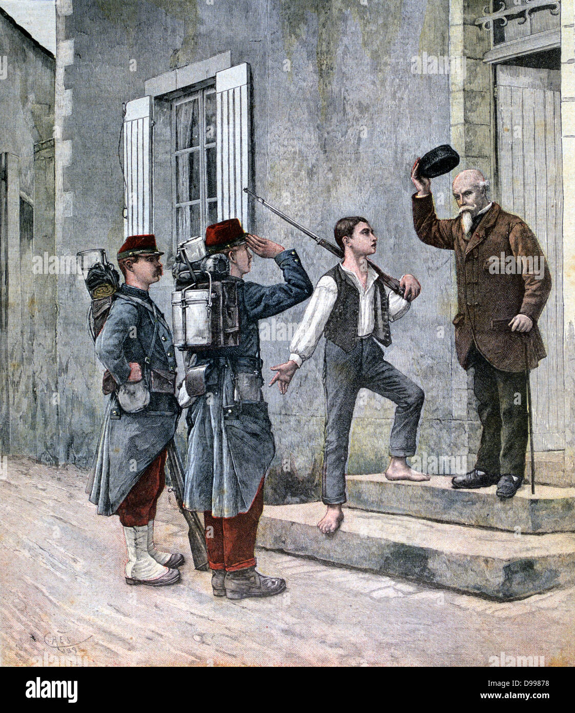 French soldiers arriving at their billet.  From 'Le Petit Journal', Paris, 14 May 1892.  France, Army, Infantry - Stock Image