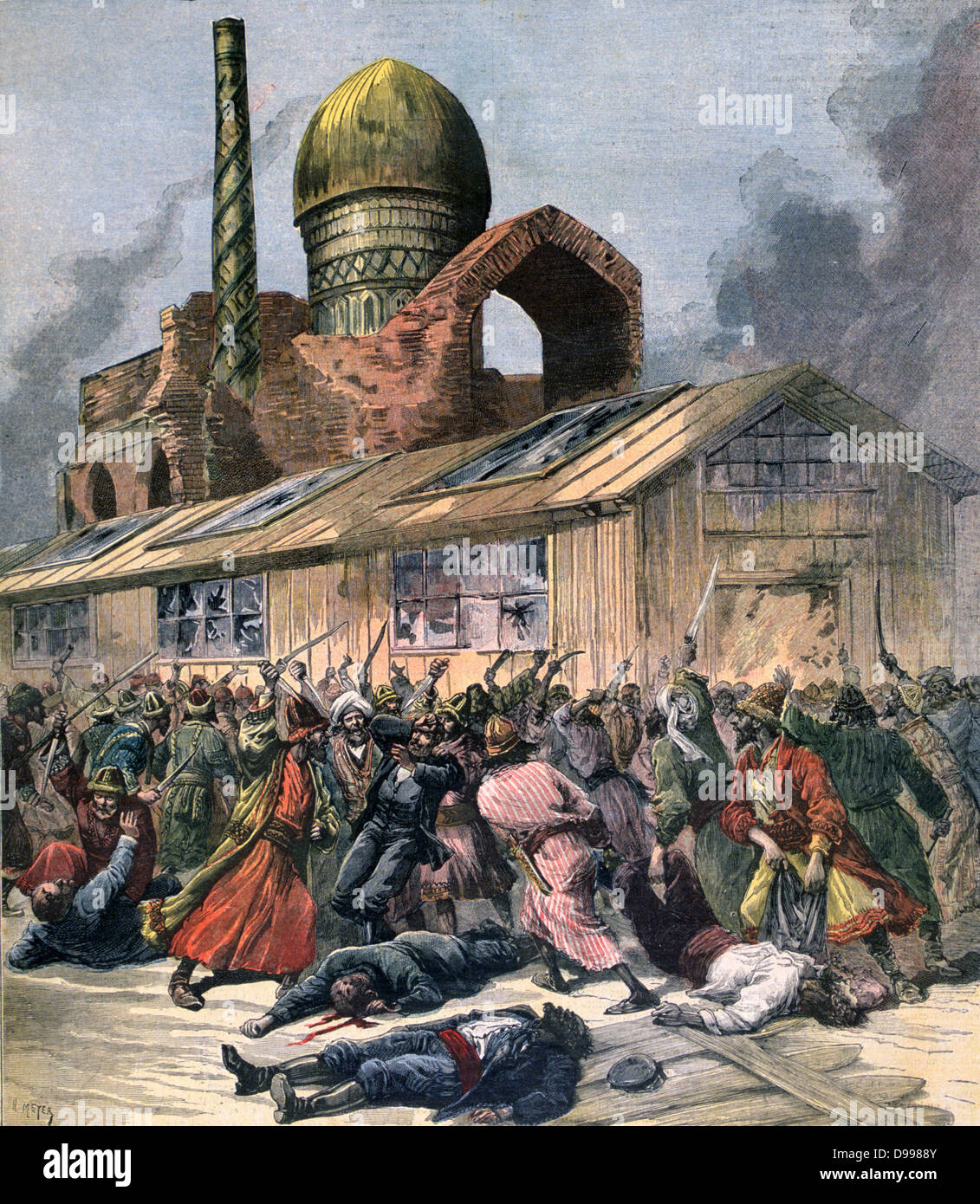 Cholera in Russia: Mob in Astrakan  lynching doctors outside a hospital.  From 'Le Petit Journal', Paris, - Stock Image