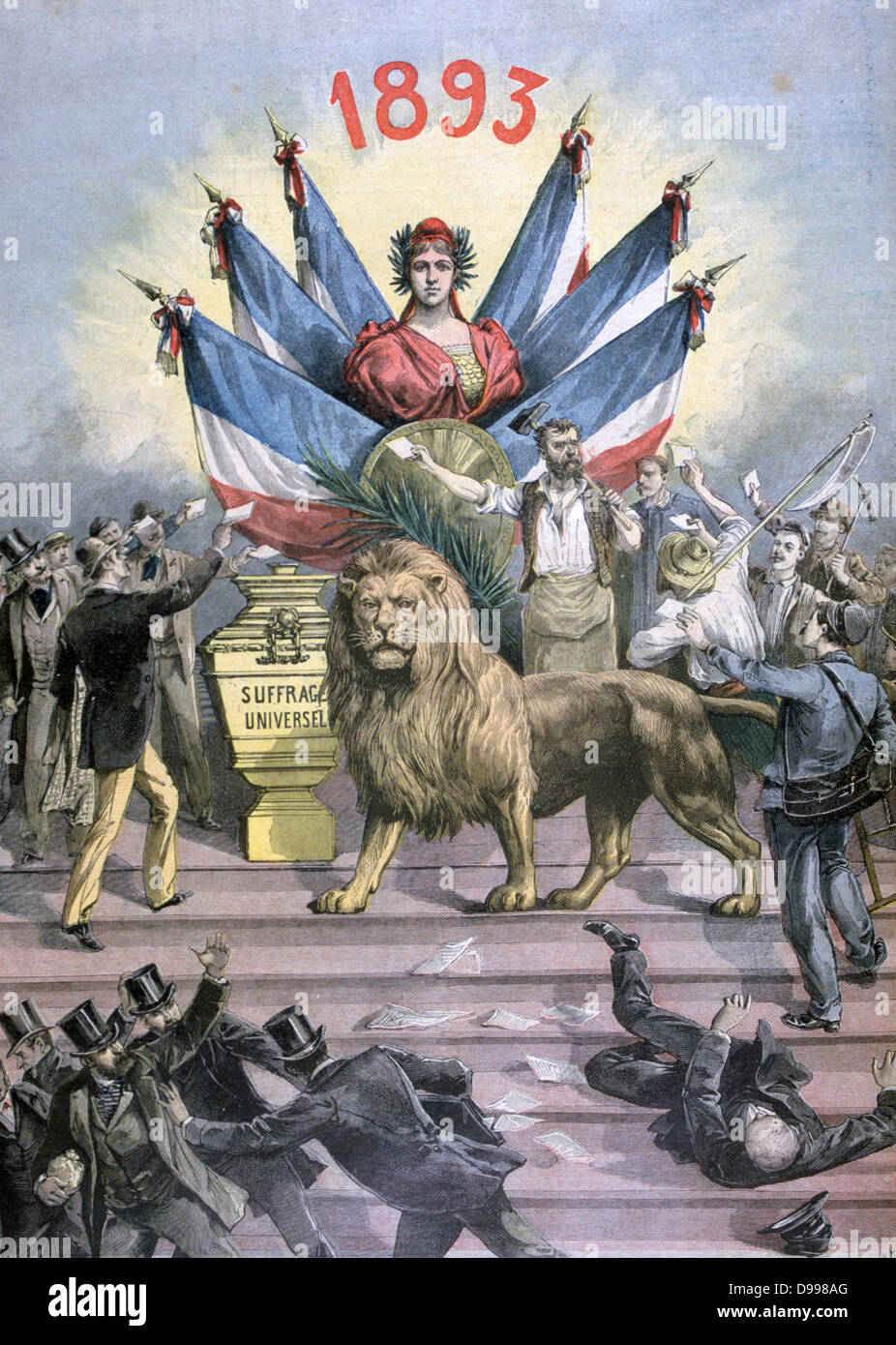 Allegory of Universal (male) Suffrage.  Enacted in 1793 French Constitution, lost with Directoire, not fully introduced - Stock Image