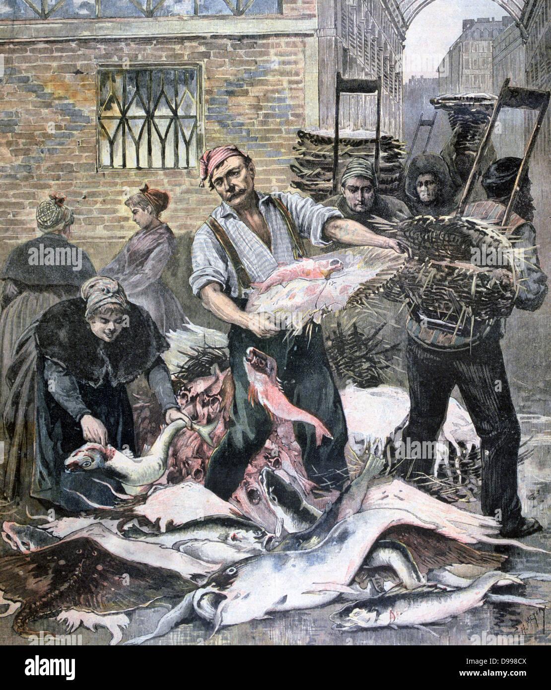 Paris fish market on the eve of La Careme (Lent ). From 'Le Petit Journal', Paris, 4 March 1893. Commerce, - Stock Image