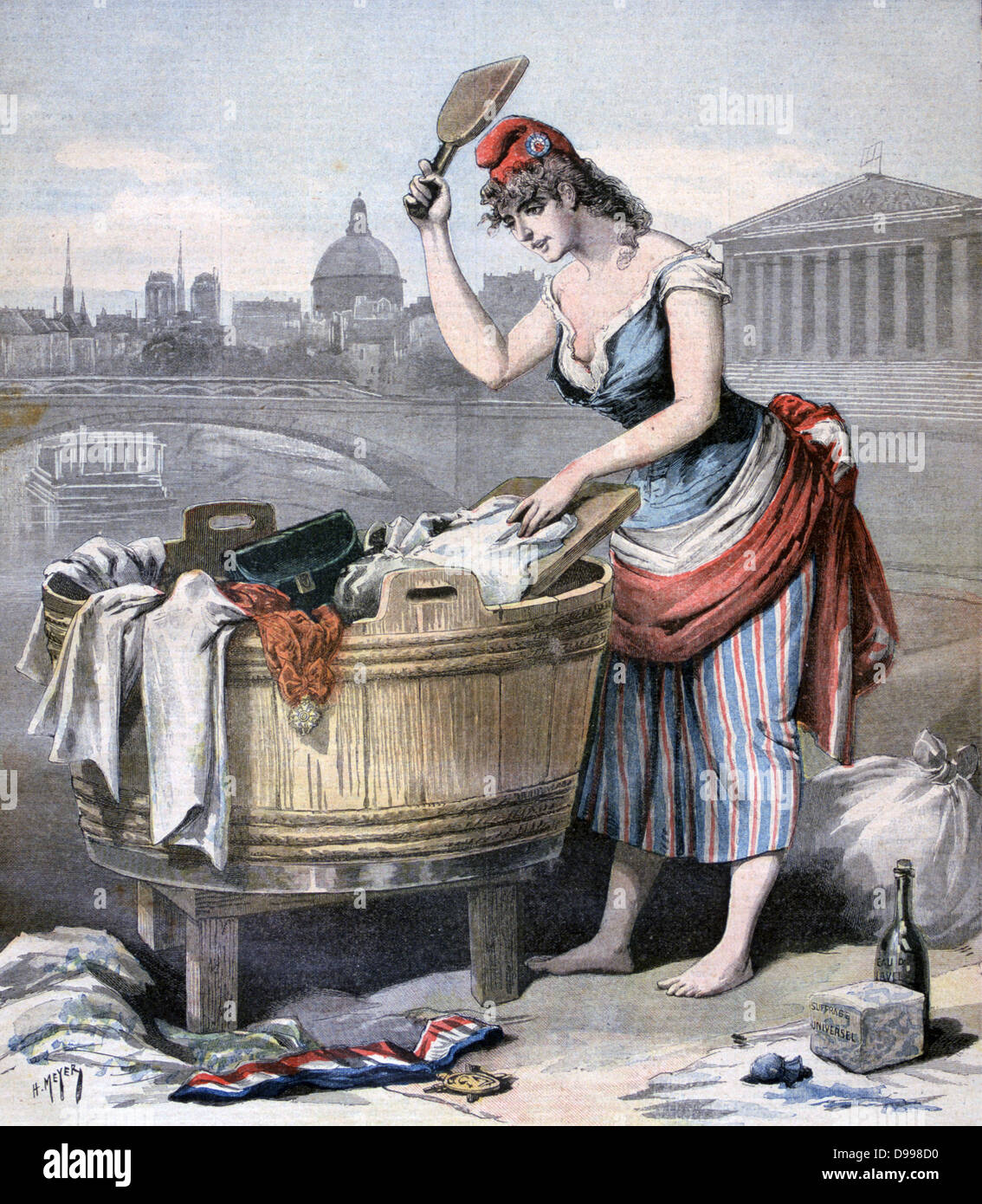 Paris Carnival, which lasted from Epiphany to Lent, elected a Queen of Laundresses. Marianne, symbol of Liberty - Stock Image