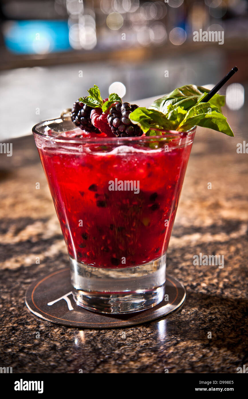 fruity cocktail at the bar drink alcohol - Stock Image