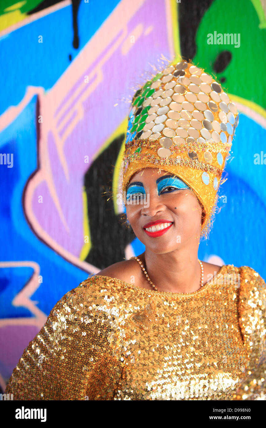 Colorful portrait of Carnaval participant, Mission District, San Francisco, California, USA - Stock Image