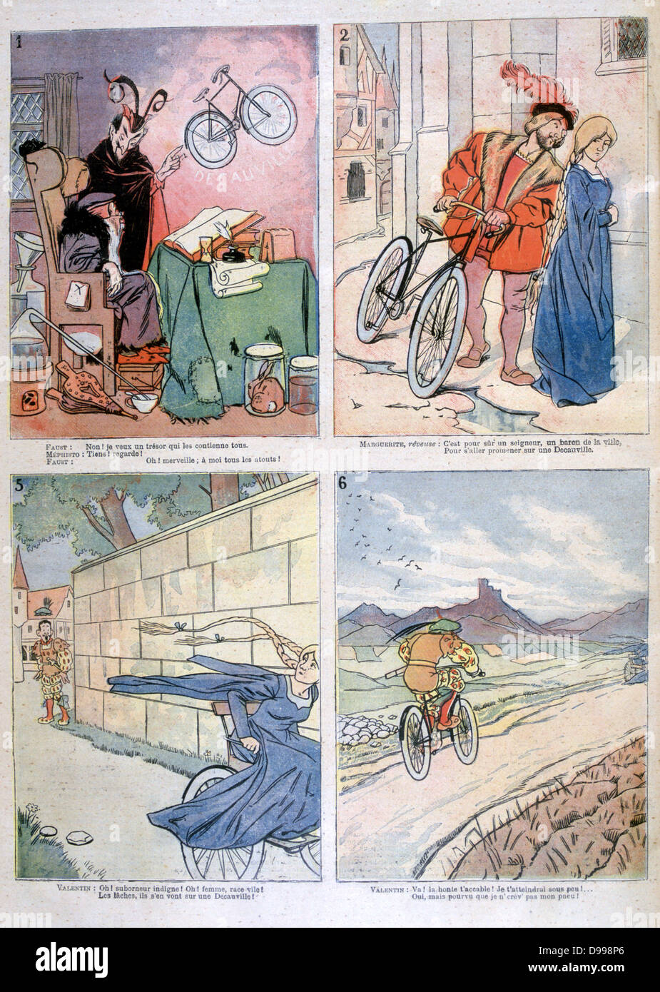 Bicycle applied to the Legend of Faust: From - Temptation by Mephistopheles, A rejuvinated Strauss courting Marguerite, Stock Photo