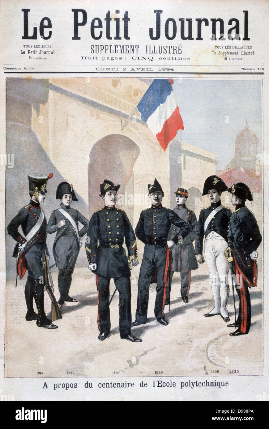 One hundred years of uniforms at the Ecole Polytechnique, Paris. Originally founded to educate engineers, by 1804 - Stock Image