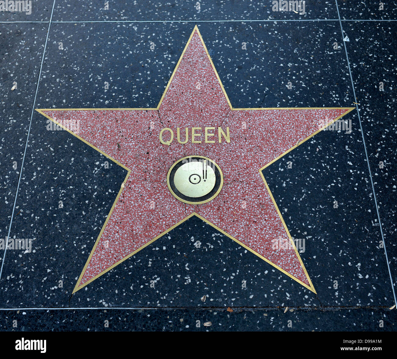 Terrazzo star for artists queen, category Music, Drumming of Fame, Hollywood boulevard, Hollywood, Los Angeles, - Stock Image