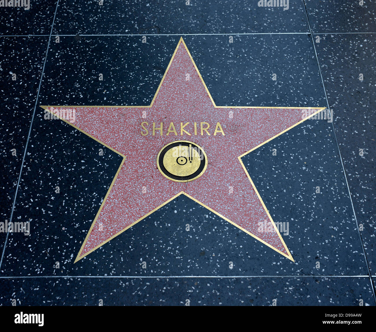 Terrazzo star for artists Shakira, category Music, Drumming of Fame, Hollywood boulevard, Hollywood, Los Angeles, - Stock Image