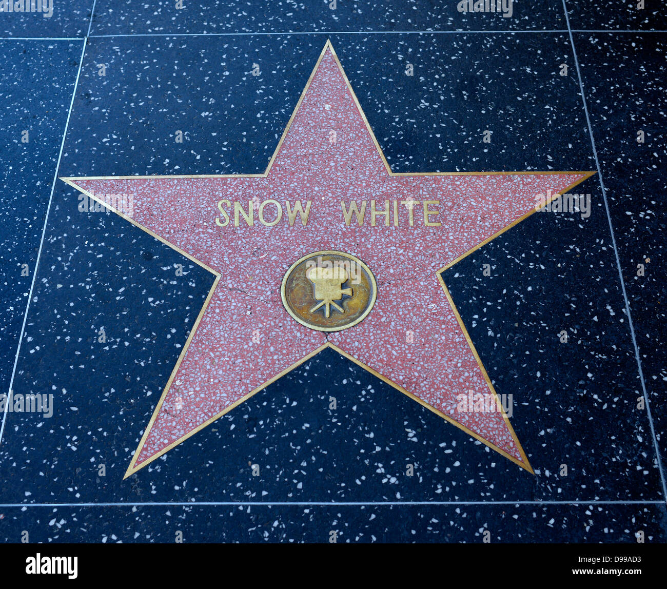 Terrazzo star for artists Snow White, category Film, Drumming of Fame, Hollywood boulevard, Hollywood, Los Angeles, - Stock Image