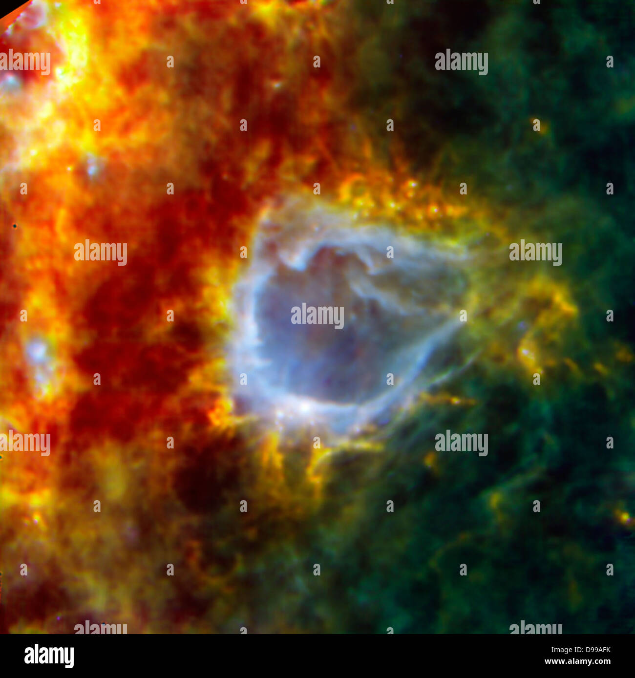 RCW 120 is a galactic bubble. Nestled in the shell around this large bubble is an embryonic star that looks set - Stock Image