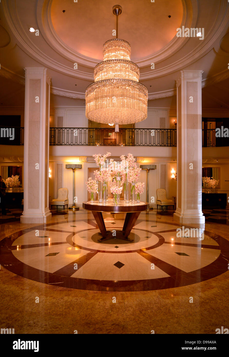 Indoor photograph lobby, Beverly Wilshire Four Season's hotel, known from Pretty Woman, Wilshire boulevard, - Stock Image