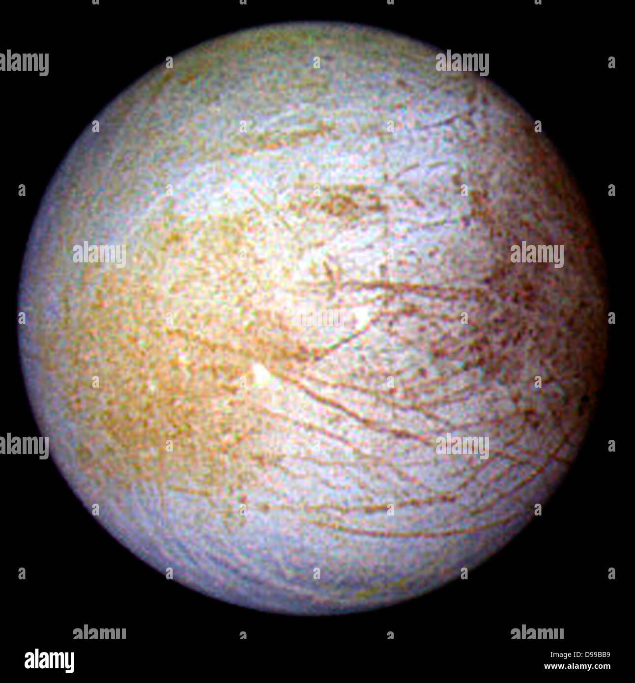 This color composite view combines violet, green, and infrared images of Jupiter's intriguing moon, Europa, - Stock Image