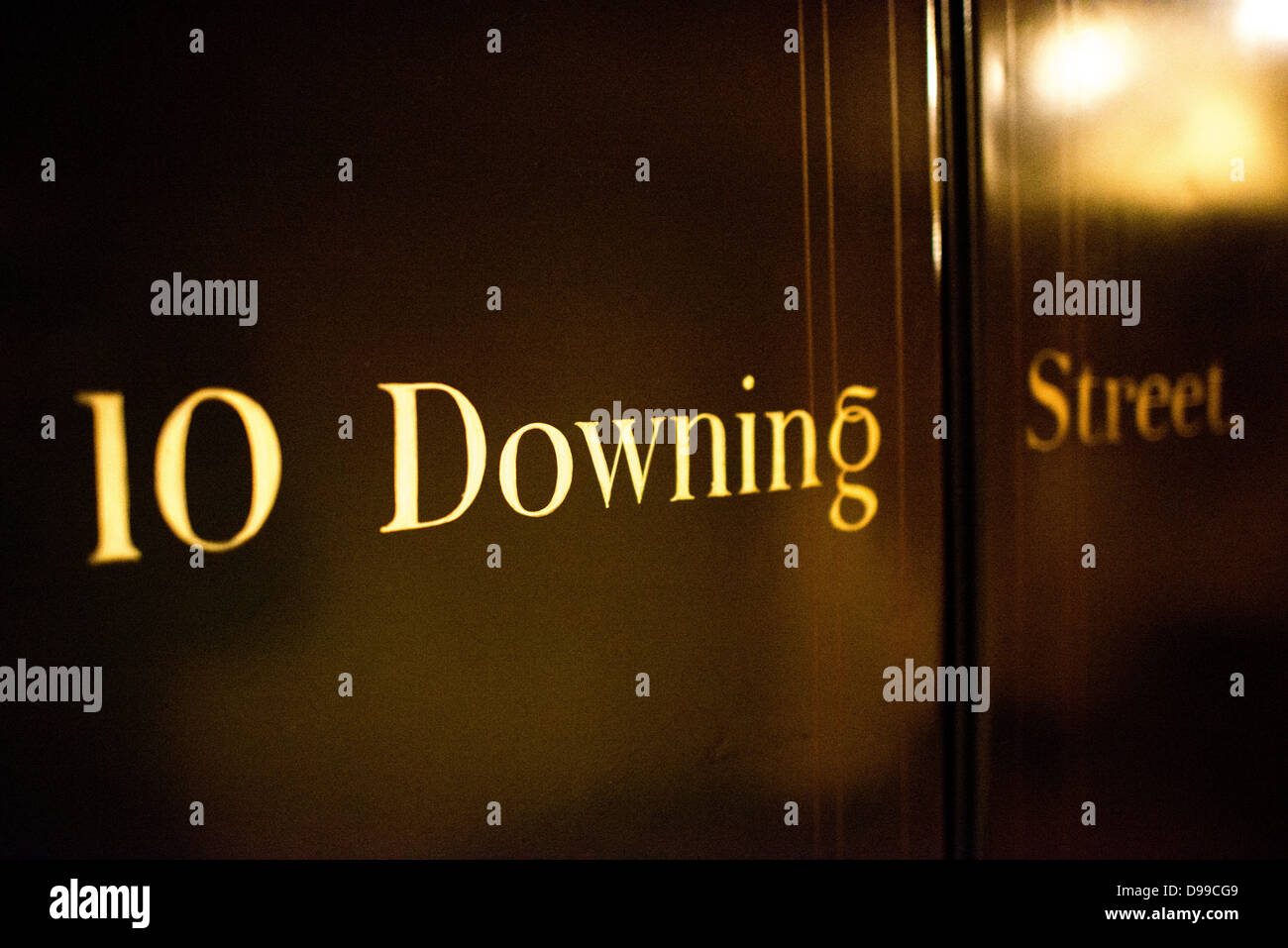 LONDON, UK - An old door of the Prime Minister's residence at 10 Downing Street on display at the Churchill - Stock Image