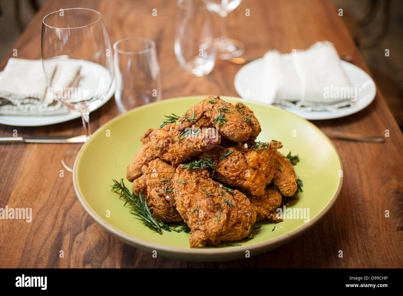golden fried chicken ready to eat on thetable - Stock Image