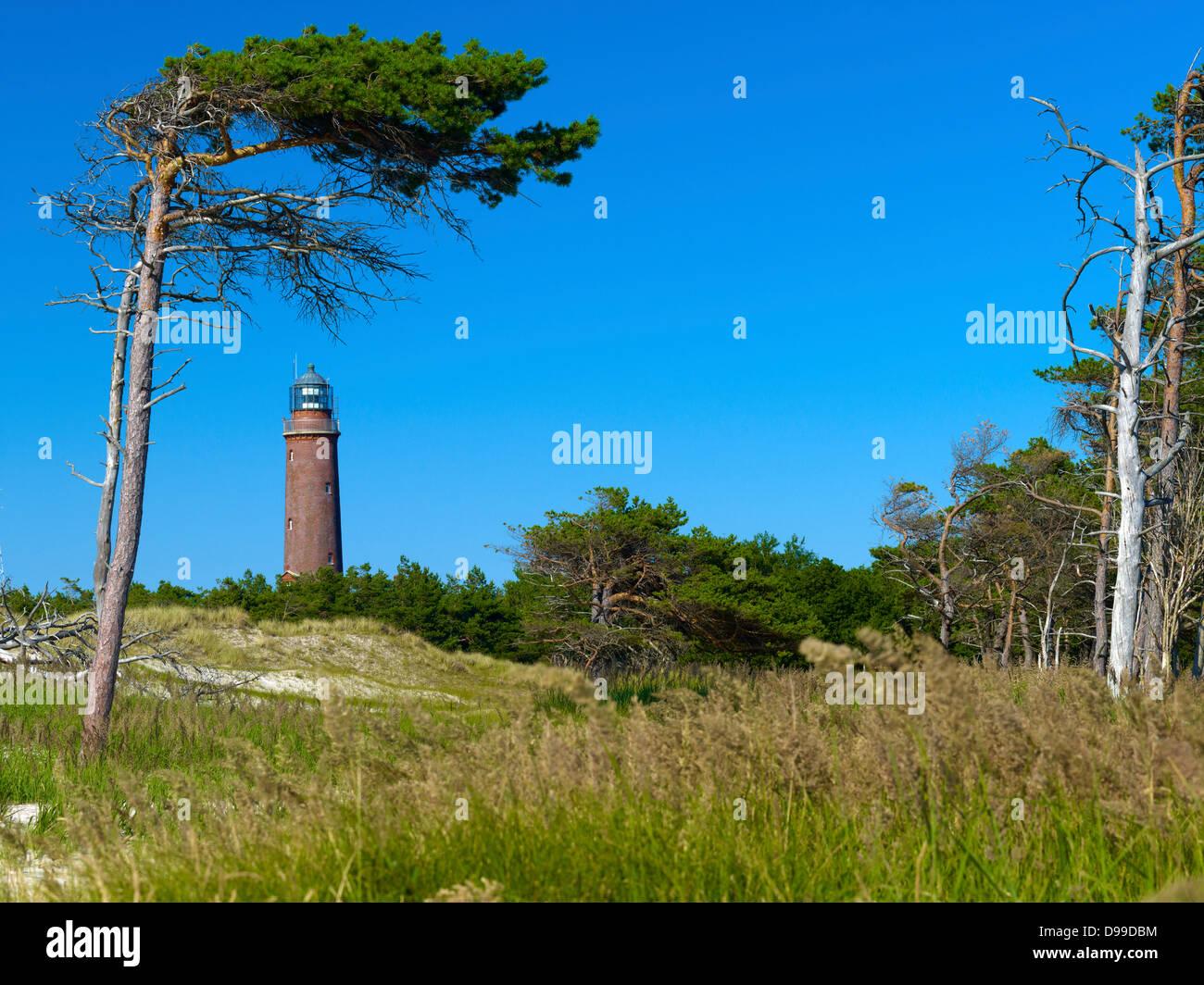 Lighthouse Darsser Ort, Prerow, Fischland-Darss-Zingst, Mecklenburg-Western Pomerania, Germany - Stock Image