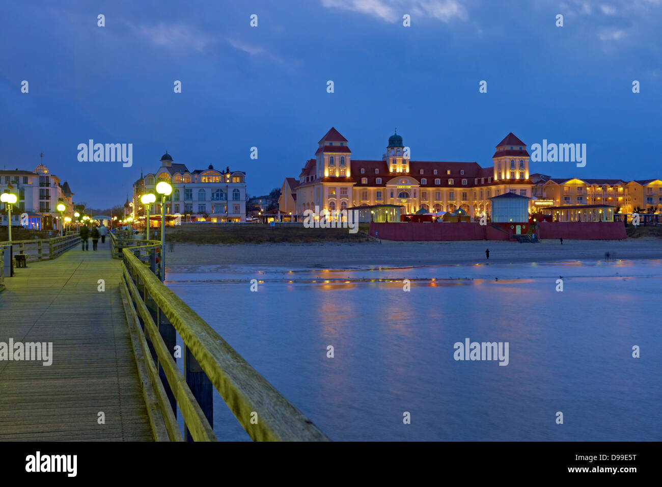 Kurhaus with pier in Binz, Ruegen Island, Mecklenburg-Western Pomerania, Germany Stock Photo