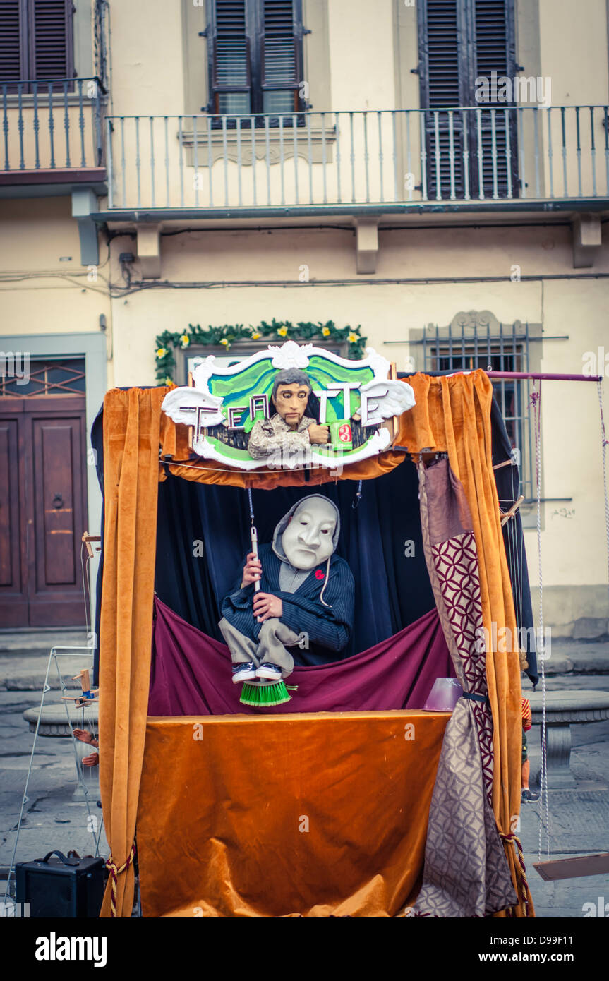 A street puppeteer in Florence, Italy - Stock Image