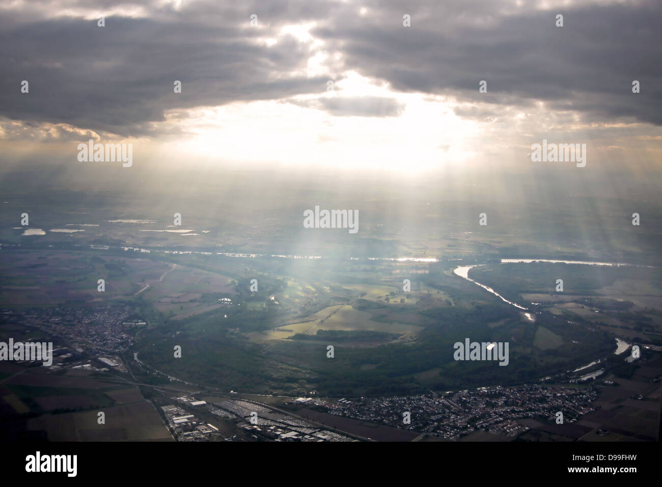 aerial photography of southern Germany in the evening - Stock Image